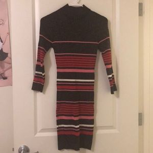 Striped mock neck body con dress from F21